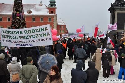 Protest w obronie dzieci. Manifestacja przeciw homoadopcji na placu Zamkowym w Warszawie
