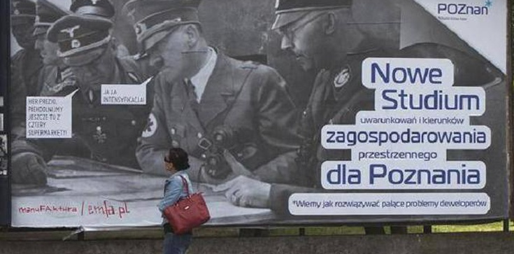 Plakat z Hitlerem i Himmlerem w Poznaniu  - zdjęcie