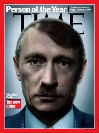 Okładka tygodnika Time z Władimirem Putinem ucharakteryzowanym na Hitlera.