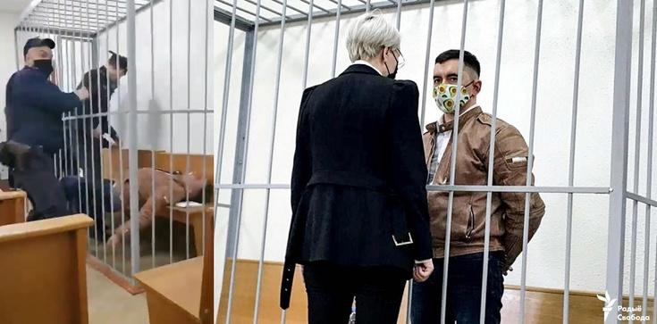 [Wideo 18+] Tak działa reżim Łukaszenki. Więzień w czasie procesu próbował podciąć sobie gardło - zdjęcie