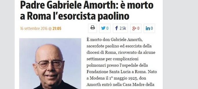 Zmarł Ojciec Gabriele Amorth, egzorcysta