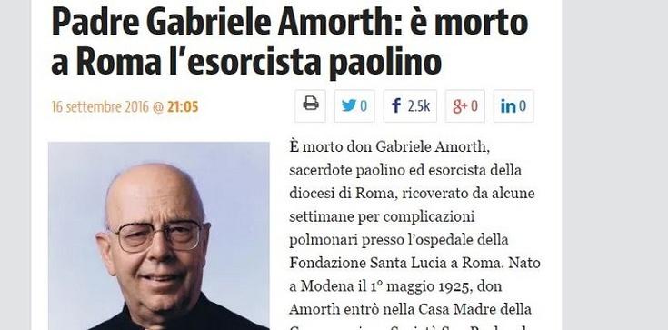 Zmarł ojciec Gabriele Amorth, słynny egzorcysta - zdjęcie