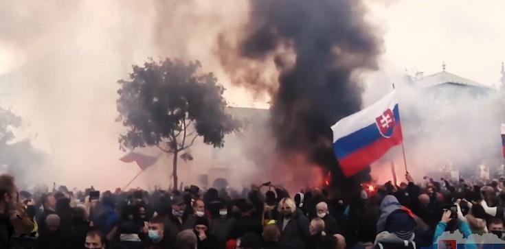 [Wideo] Słowacja. Policja użyła gazu łzawiącego i armatek wodnych przeciwko demonstrantom anty-covid - zdjęcie