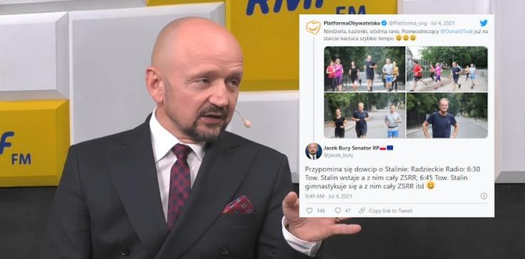 PO chwali się zdjęciami biegającego Tuska. Senator Bury kpi na Twitterze: Przypomina się dowcip o Stalinie… - zdjęcie
