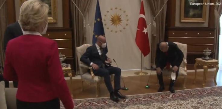 W Ankarze zrobiło się niezręcznie. Dla szefowej KE zabrakło krzesła  - zdjęcie