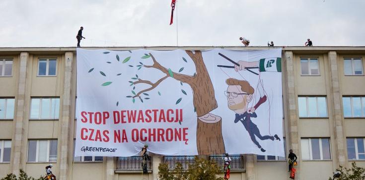 Hucpa zielonych aktywistów. Zwiesili się na linach z gmachu ministerstwa  - zdjęcie