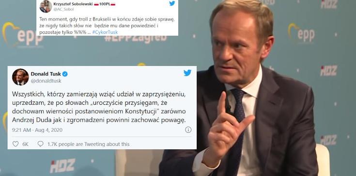 Tusk kpi z zaprzysiężenia prezydenta. Internauci: ,,Brukselskiego trolla zżera zazdrość''  - zdjęcie