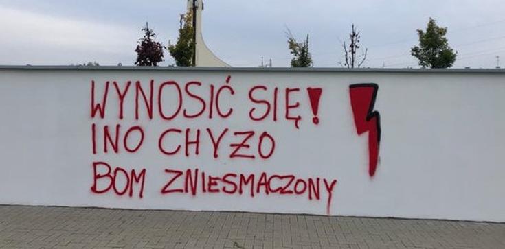 Napis aborcjonistów na szkole specjalnej: ,,Wynosić się!''  - zdjęcie