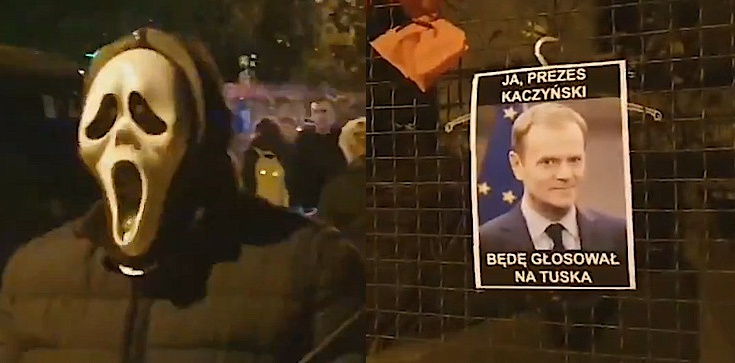 Cyrk przed domem prezesa PiS. Internauci rozpoznali jednego z uczestników akcji - zdjęcie