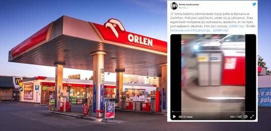 Tak kończy się ,,polityka'' opozycji! Kobieta zdemolowała stację Orlen. Padły strzały  - miniaturka