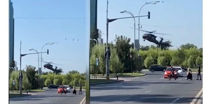[Wideo] Rumunia: Black Hawk wylądował na rondzie w ścisłym centrum Bukaresztu - zdjęcie