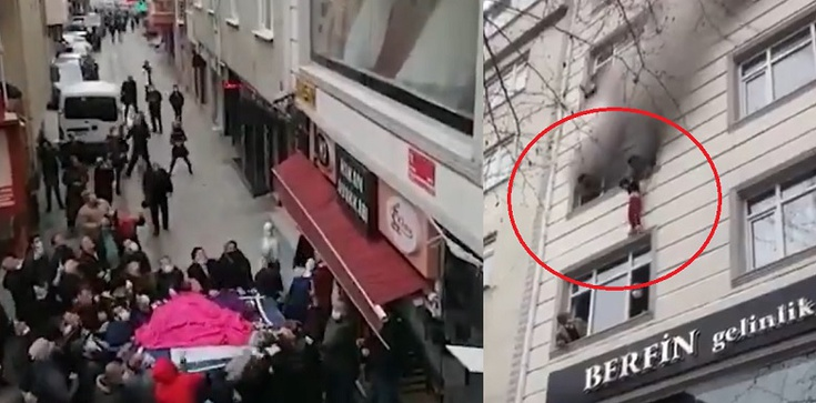 Turcja. Chwile grozy. Matka wyrzuciła 4 dzieci przez okno, aby je ratować z pożaru [Wideo] - zdjęcie