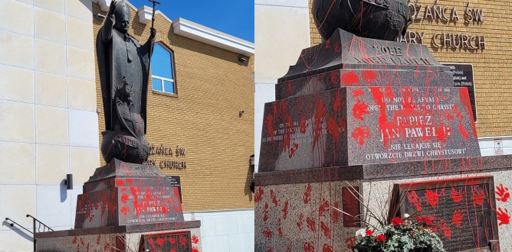 Antypolonizm i chrystianofiobia dotarły do Kanady. Zdewastowano pomnik św. Jana Pawła II - zdjęcie