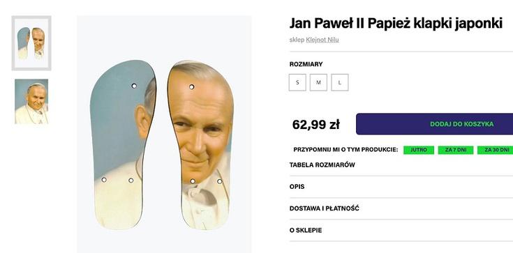 SKANDAL! Klapki do deptania wizerunku św. papieża Jana Pawła II - zdjęcie