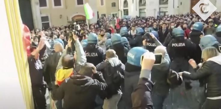[Wideo] Włochy. Starcia przedsiębiorców z policją. Protesty przeciwko obostrzeniom Covid - zdjęcie