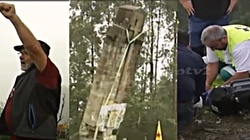 Wyburzany krzyż runął na lewaków śpiewających 'międzynarodówkę'! Są ranni [FILM] - miniaturka