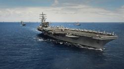 Myśliwce, okręty i lotniskowiec USA w pobliżu Korei - miniaturka