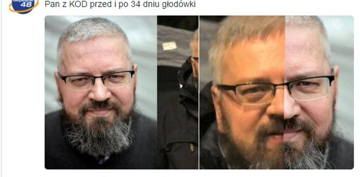 """Pan z KOD przed i po 34 dniu głodówki: """"Zaczynam wyglądać jak chłopaczek sprzed lat, wychudzony, zbuntowany""""  - zdjęcie"""