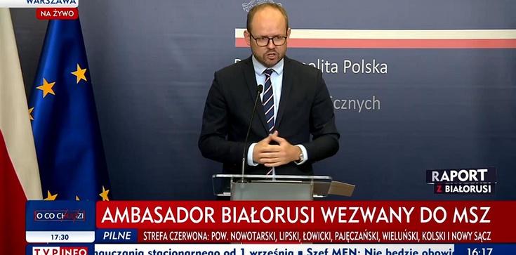 (Wideo) Wiceszef MSZ po spotkaniu z ambasadorem Białorusi w Polsce: Poinformowałem pana ambasadora, że nie ma zgody w Polsce na tego typu narrację - zdjęcie