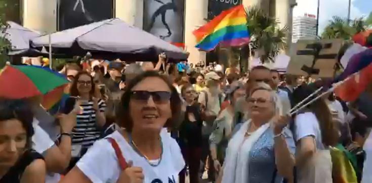 Tęczowa manifestacja w Warszawie. Przemówienie posła PO przerywane okrzykami - zdjęcie