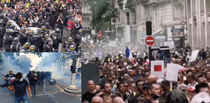 [Wideo] Paryż. Liczne starcia z policją podczas protestów przeciwko segregacji sanitarnej - zdjęcie