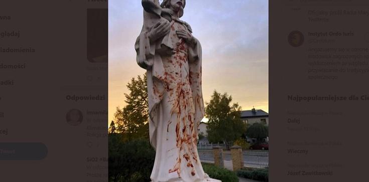 Kolejna profanacja i dewastacja figury św. Józefa i krzyżaw Pile - zdjęcie