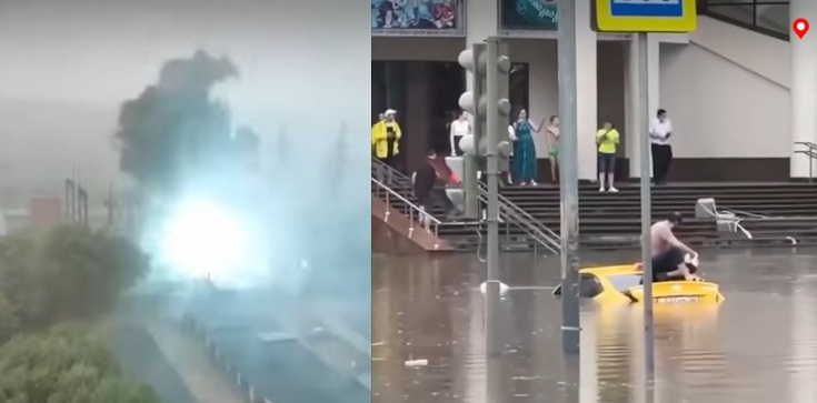 [Wideo] Ogromna ulewa w Moskwie, wybuch i podtopienia - zdjęcie