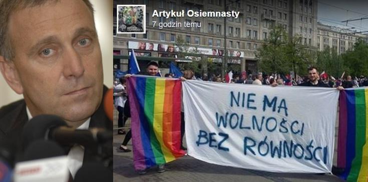 Gej zrobił swoje... Ochroniarz Schetyny pluje na gejów... - zdjęcie