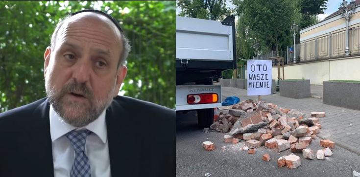 Gruz przed ambasadą Izraela. Protestuje naczelny rabin Polski - zdjęcie