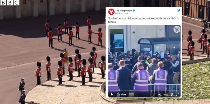 Półnaga kobieta wybiega z tłumu. Skandal na pogrzebie księcia Filipa - zdjęcie