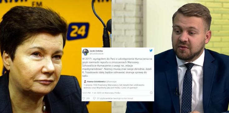 J. Ozdoba do H. Gronkiewicz-Waltz: Do szuflady schowaliście raport o zniszczeniu Warszawy - zdjęcie