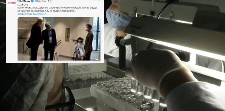 Szok. Zdjęcie jak rektor WUM w ukłonach witał celebrytów do szczepień? - zdjęcie