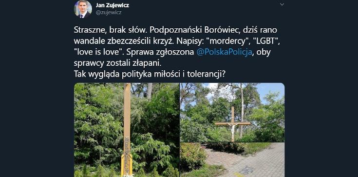 ,,LGBT'', ,,mordercy''. Lewacy zbezcześcili krzyż w podpoznańskim Borówcu! - zdjęcie