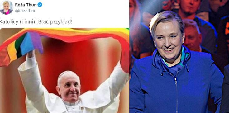 Thun udostępnia fotomontaż z Papieżem i tęczową flagą. ,,Brać przykład!''. Kuriozalne tłumaczenia... - zdjęcie