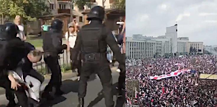 Białorusini wciąż protestują. Tysiące osób na ulicach, OMON pałuje i używa gazu - zdjęcie