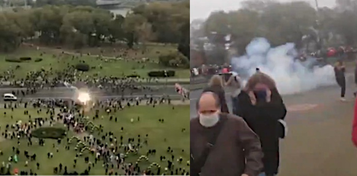 Białorusini się nie poddają! Kolejne protesty, milicja użyła granatów hukowych - zdjęcie