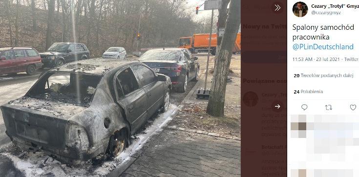 Berlin: Podpalono samochód polskiej dyplomacji. Gmyz: Ciężko uznać to za zwykłą sprawę - zdjęcie