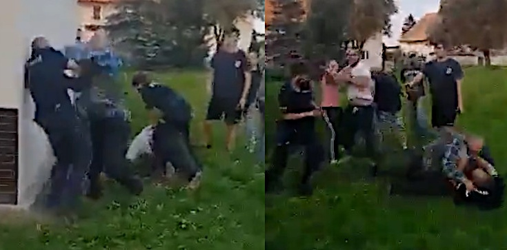 Szokujące nagranie! Ojciec z synem rzucili się na policjantów [18+] - zdjęcie