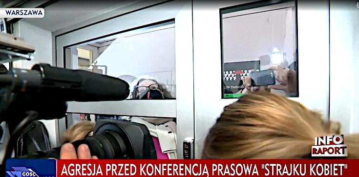 Lempart wyrzuca dziennikarzy. Nazwała ich ,,psami''. TVP: Poturbowano dziennikarkę ,,Gazety Polskiej'' - zdjęcie