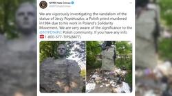 Obrzydliwa profanacja pomnika bł. Jerzego Popiełuszki w USA! ,,Htlerowskie'' wąsy i napis: ,,No Polish'' - miniaturka