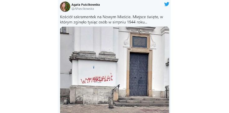 Warszawa: Lewacy sprofanowali kościół, w którym w trakcie Powstania zginęło tysiąc osób!  - zdjęcie
