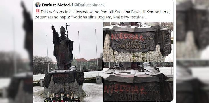 Szczecin. Kolejna bezczelna dewastacja pomnika św. Jana Pawła II - zdjęcie