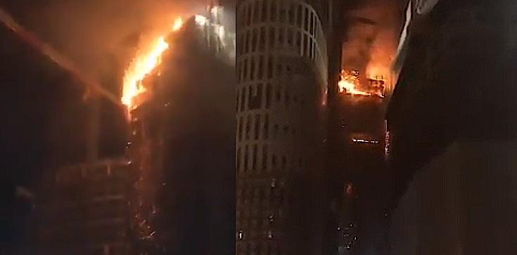Warszawa: Budowany wieżowiec Warsaw Hub stanął w ogniu! Walka trwała całą noc - zdjęcie