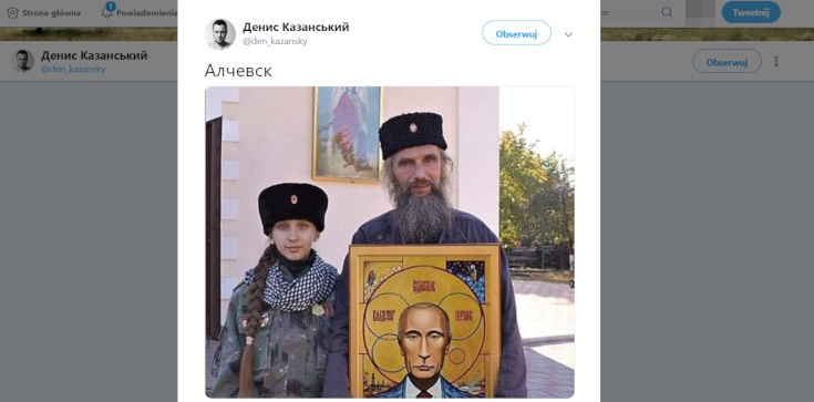 Ikona z Putinem w ,,Ługańskiej Republice Ludowej'' - zdjęcie