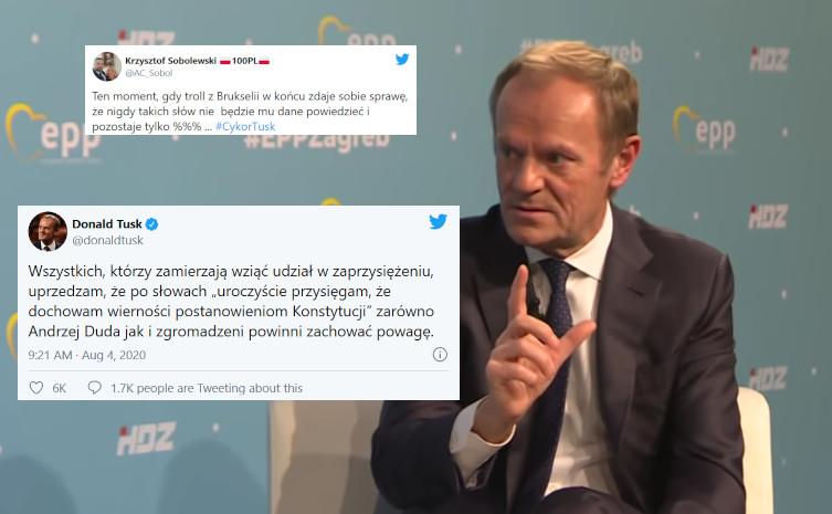 Tusk kpi z zaprzysiężenia prezydenta. Internauci: ,,Brukselskiego trolla zżera zazdrość''  - miniaturka