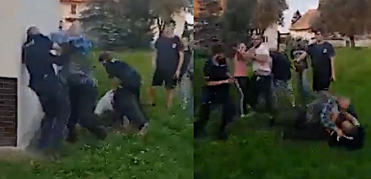 Szokujące nagranie! Ojciec z synem rzucili się na policjantów [18+] - miniaturka